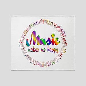 Music Makes Me Happy Throw Blanket