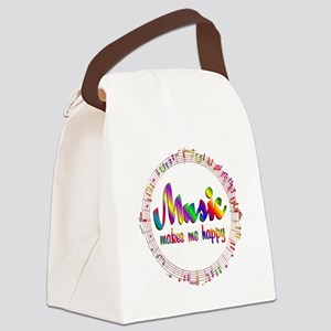 Music Makes Me Happy Canvas Lunch Bag