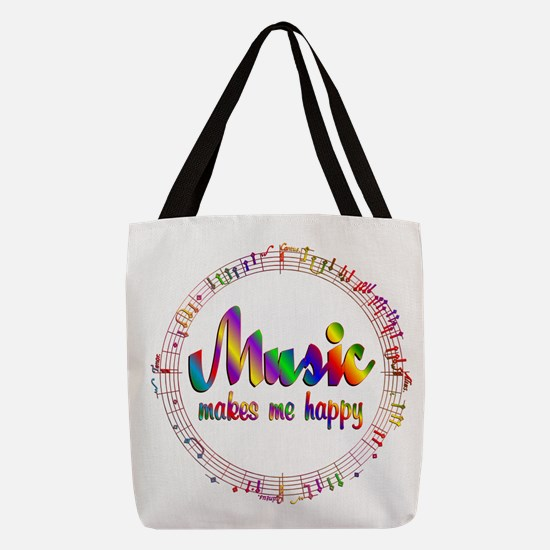 Music Makes Me Happy Polyester Tote Bag