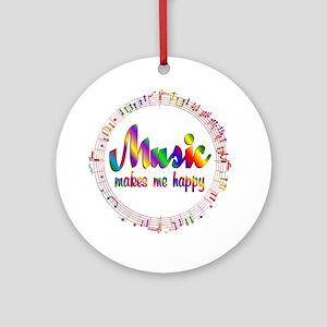 Music Makes Me Happy Round Ornament