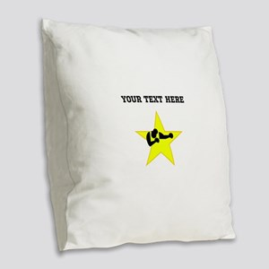 Boxer Star (Custom) Burlap Throw Pillow
