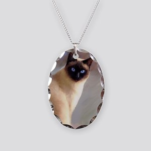 Cat 613 siamese Necklace Oval Charm