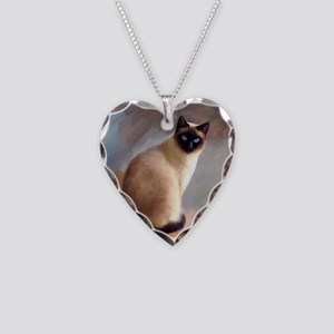 Cat 613 siamese Necklace Heart Charm