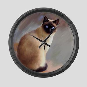 Cat 613 siamese Large Wall Clock