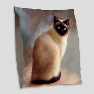 Cat 613 siamese Burlap Throw Pillow