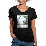 Big Dogs vs. Small Dog Women's V-Neck Dark T-Shirt