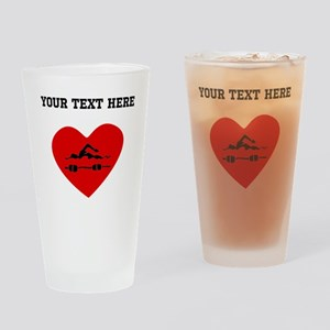 Swimmer Heart (Custom) Drinking Glass