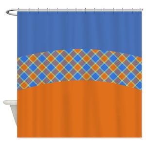 Orange Plaid Shower Curtains