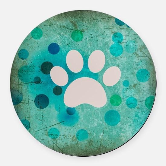 Blue Paw Dot Round Car Magnet