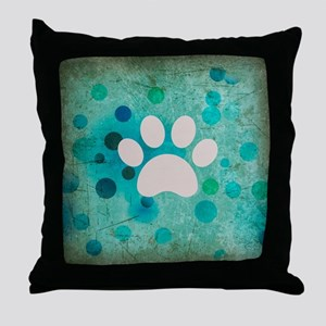Blue Paw Dot Throw Pillow