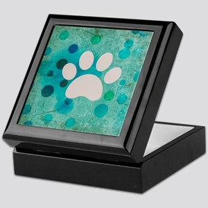 Blue Paw Dot Keepsake Box