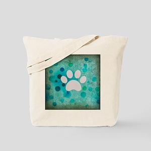 Blue Paw Dot Tote Bag