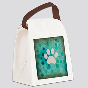 Blue Paw Dot Canvas Lunch Bag