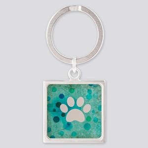 Blue Paw Dot Square Keychain