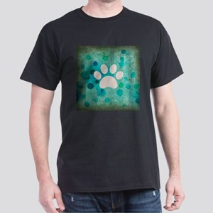 Blue Paw Dot Dark T-Shirt