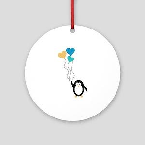 Valentine Penguin Ornament (Round)