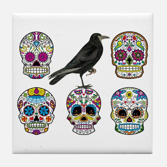 Sugar Skull By Design With Raven Tile Coaster