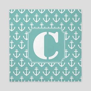 Nautical Letter C Monogram Queen Duvet