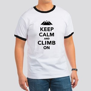 Keep calm climb on mountains Ringer T