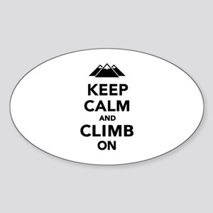 Keep calm climb on mountains Sticker (Oval)