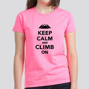 Keep calm climb on mountains Women's Dark T-Shirt