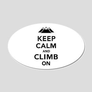 Keep calm climb on mountains 20x12 Oval Wall Decal