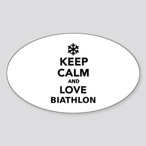 Keep calm and love Biathlon Sticker (Oval)