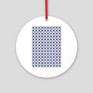 Navy Blue Geometric Lattice Patte Ornament (Round)