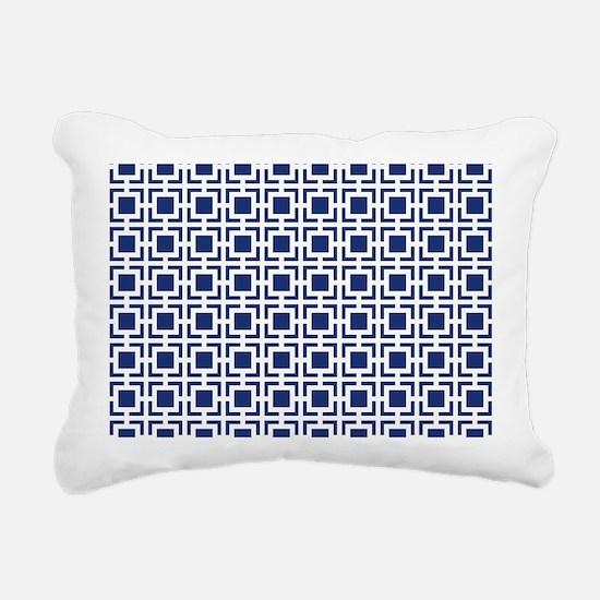 Navy Blue Geometric Latt Rectangular Canvas Pillow