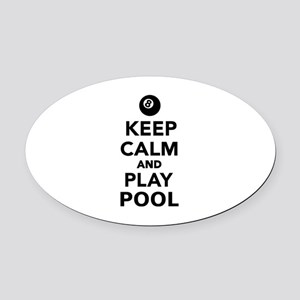 Keep calm and play pool billiards Oval Car Magnet