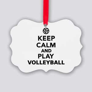 Keep calm and play Volleyball Picture Ornament