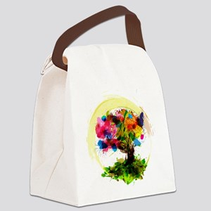 Watercolor Tree of Life Canvas Lunch Bag