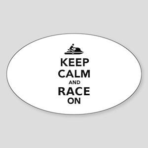 Keep calm and race on Jet Ski Sticker (Oval)