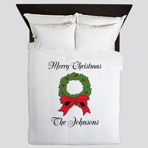 Personalized Christmas wishes Queen Duvet