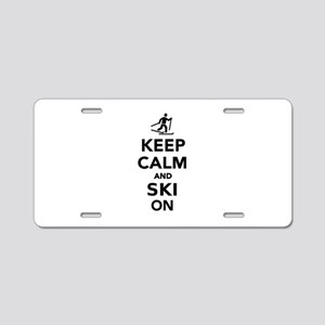 Keep calm and Ski on cross Aluminum License Plate
