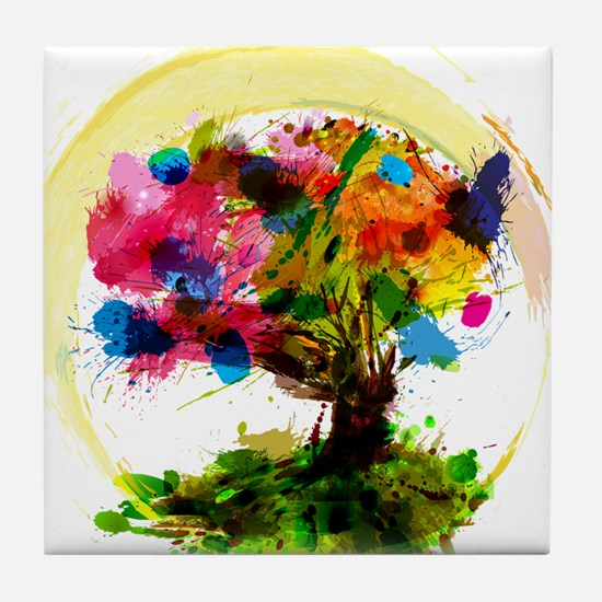 Watercolor Tree of Life Tile Coaster