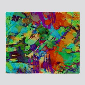 Colorful paint blots Throw Blanket