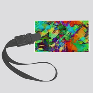 Colorful paint blots Large Luggage Tag