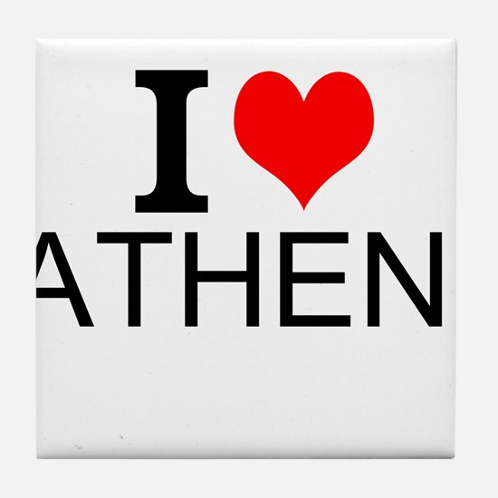 I Love Athens Tile Coaster