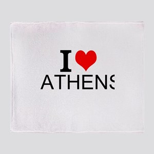 I Love Athens Throw Blanket