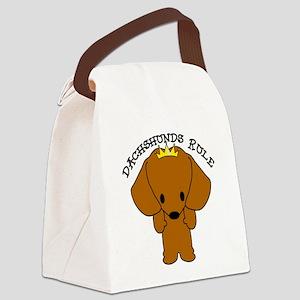 Dachshund Dogs Rule Canvas Lunch Bag
