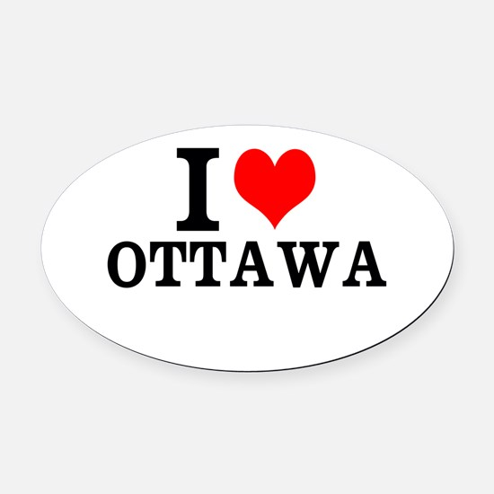 I Love Ottawa Oval Car Magnet