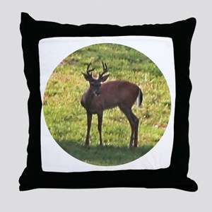 BUCK IN THE FIELD Throw Pillow