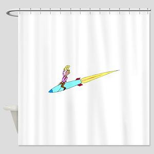 Cowboy Riding Rocket Shower Curtain