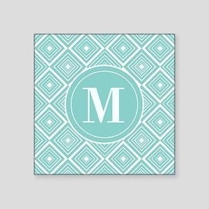 Diamond Pattern Blue and White Monogram Sticker