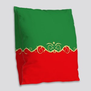 Red and green fancy border Burlap Throw Pillow
