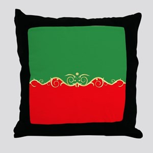 Red and green fancy border Throw Pillow