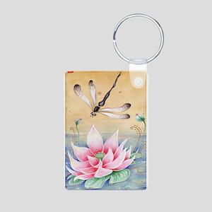 Lotus Dragonfly Art Keychains