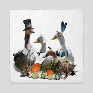 Thanksgiving Pilgrims And Indian Ducks Queen Duvet