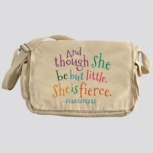Shakespeare She Is Fierce quote Messenger Bag